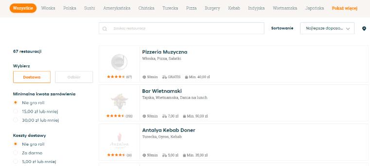Krok 3 – Szukaj restauracji Jeśli nie wiesz, czego szukasz, skorzystaj z filtrów, wg których zostanie dla Ciebie wyszukana specjalna lista propozycji.